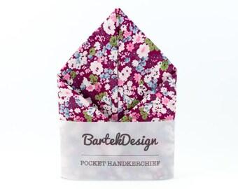 Floral Pocket Square Magenta Pocket Square Mens Handkerchief Purple Pocket Square Wedding Groomsmen Hankie for Men Cotton Pocket Square