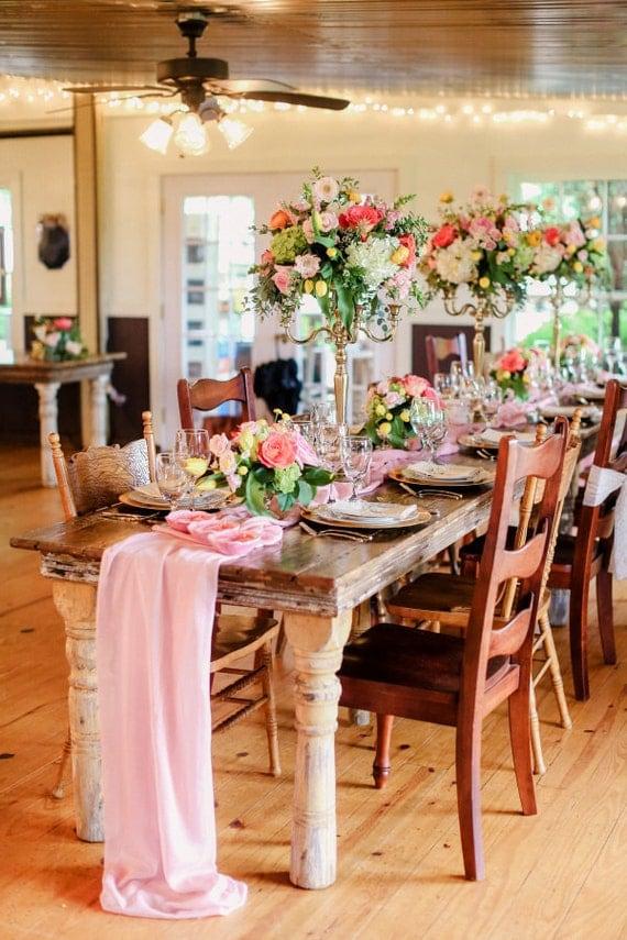 Chiffon Table Runner, flowy table runner, Blush table runner, table overlay, romantic table runner, chic wedding decor, rustic table runner