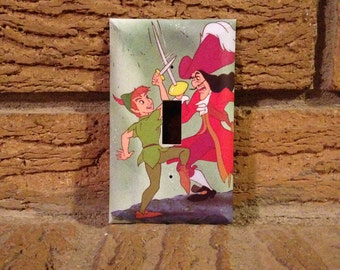 Hook and Peter Pan Light Switch Plate, Peter Pan Captain Hook, Peter Pan Nursery, Peter Pan Decoration, Peter Pan Bedroom, PP18