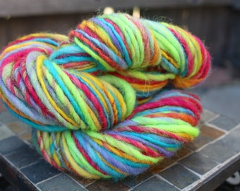 Neon Yarn, Handspun Bulky Yarn, Cheviot Yarn, Bulky Yarn, 94 yards