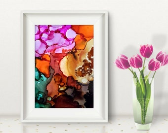 Original abstract painting, ink painting, coloful shades of fall autum halloween