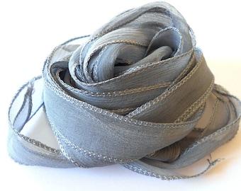 Dark grey Silk Ribbon - hand dyed - gray stone - for necklace bracelet