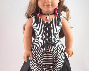 """Bustle and Hip Swag - 18"""" girl doll clothes, overskirt, striped Victorian Steampunk pirate, modern accessories, American made"""