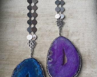 Gypsy... Boho..raw quartz pendant Necklace... Repurposed metals...TheVintageJunkieShop...The Vintage Junkie....Amy Calandra
