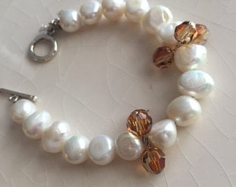 Freshwater pearl and  amber crystal bracelet