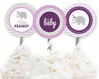 Elephant Cupcake Toppers, Elephant Baby Shower, Elephant Party Circles, Purple Elephant Shower, INSTANT DOWNLOAD, Girl Shower Decor, #E1