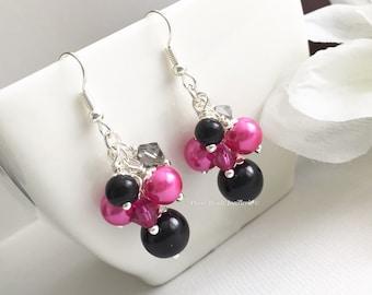 Hot Pink and Black Earrings, Fuchsia Earrings, Chunky Earrings, Fuchsia and Black Wedding Earrings, Bridesmaid Earrings, Wedding