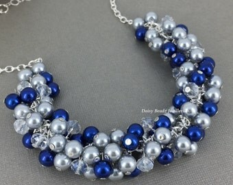 Cobalt Blue and Silver Cluster Necklace, Pearl Necklace, Blue Pearl Necklace, Bridesmaid Necklace, Cobalt Necklace, Bridesmaid Jewelry