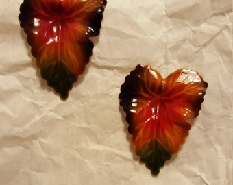 Enameled 50's Birch Leaf Earrings
