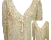 Semi Sheer Lace Beige Blouse with Ruffled Neckline and Rhinestone Buttons - Fits Size Large