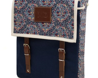 Pandora Print Backpack, Canvas and Leather Backpack, Flowers Printed Fabric, Women's Backpack