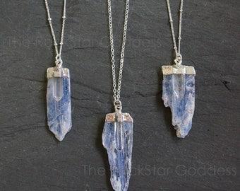 Kyanite Necklace / Raw Kyanite Necklace  / Kyanite Quartz Pendant / Raw Quartz Necklace / Kyanite Pendant / Silver Kyanite Necklace