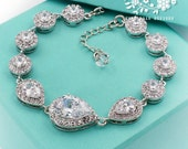 Wedding Bracelet Platinum plated Zirconia Rhinestone Bracelet Wedding Jewelry Bridal Bracelet Bridesmaid Bracelet Wedding Accessory Tvis