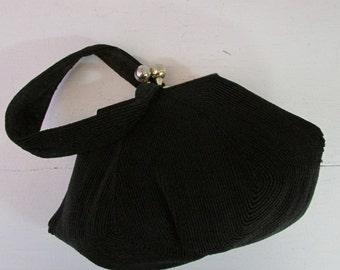 1940s black purse | vintage 40s handbag | evening handbag | The Teresa Evening Handbag