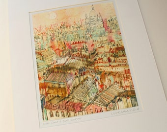 PARIS ROOFTOPS ART, French Signed Print, Watercolor Paris, Sacre Coeur Wall Art, Signed Paris Print, Mixed Media Painting, French Home Decor