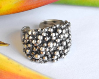 Wide Galaxy Ball Ring in Sterling Silver - Stack Rings - Handmade in Australia