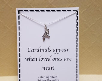 Cardinal Quote Sympathy Gift Sterling Silver Necklace Cardinals Appear