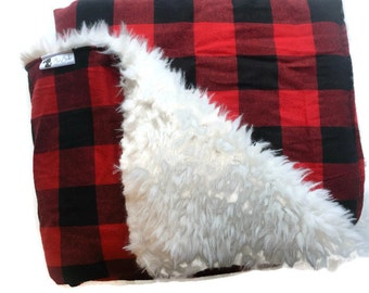 BUFFALO PLAID BLANKET Adult Blanket Twin Bed Blanket Sherpa by BizyBelle