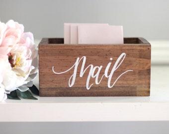 Rustic Mail Holder Box, Office Organization, Rustic Wooden Planter Box, Mail Box Organizer, Rustic Home Decor, Housewarming Gift, B-1