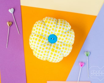 Flower Pin Cushion - Yellow Squares
