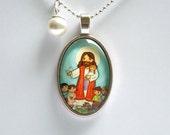 Jesus pendant Jesus necklace Jesus jewelry Girl first communion jewelry Girl first communion necklace First communion gift Catholic jewelry