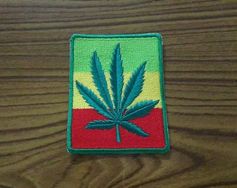 Cannabis Applique Embroidered Iron on Patch (size 6x8 cm)