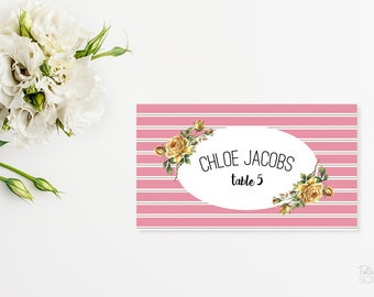 Printable place cards Floral placecards Reception place cards Wedding placecards Pink place cards Folded placecards Striped placecards