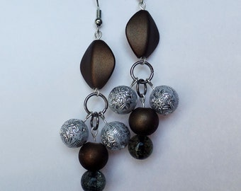 Brown and silver dangle earrings