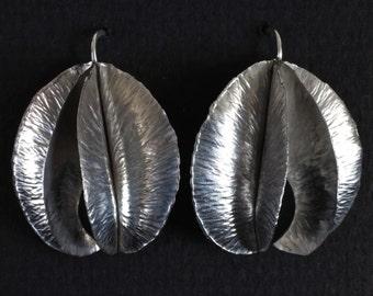 Orchid Fold Formed Earrings in Sterling Silver