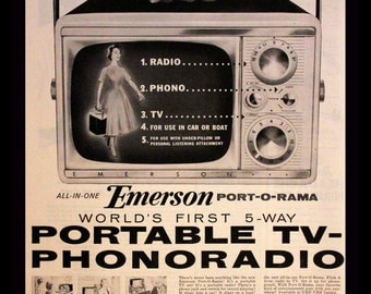 1956 Emerson Portable TV Phonoradio Ad - Television - Radio - Wall Art - Home Decor - Retro Electronics Advertising