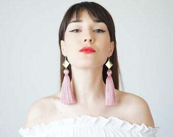 Spring Fashion Accessories Tassel Earrings Pink Statement Earrings Bohemian Earrings Bohemian Jewelry Boho-Chic Fashion Mom Gift / CHATIO