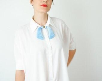 Boho Necklace Fringe Necklace Blue Necklace Statement Necklace Tassel Necklace Gemstone Necklace Gift For Her Valentines Day Gift/ MOSSA