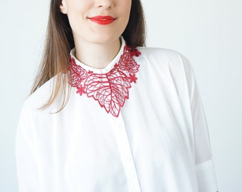 Summer Party 4th July  For Her Women Gift For Girlfriend For Best Friend Bib Necklace Statement Necklace Lace Necklace Red Necklace / TORSA