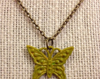 "16"" Yellow Butterfly Necklace"