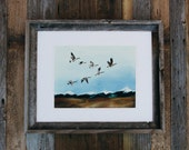 Geese In Flight Print . Mountains . Adventure . Nature
