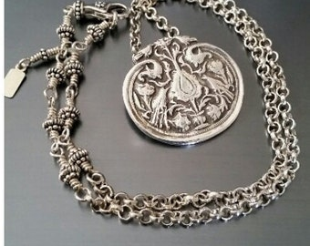 Spring Birds Medallion and Sterling Chain