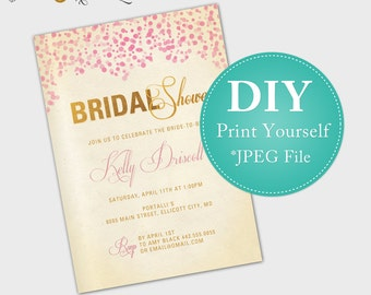 Champagne Bridal Shower Invitation (DIGITAL FILE)