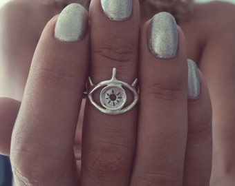 eye ring,silver ring,dainty ring,silver ring,stacking ring,midi ring,evil eye ring,thin ring,gift for her,boho ring,silver925 ring,thin ring