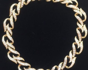 "Elizabeth Taylor Necklace - Eternal Flame Rhinestone Gold Tone 18"" Choker - S1728"