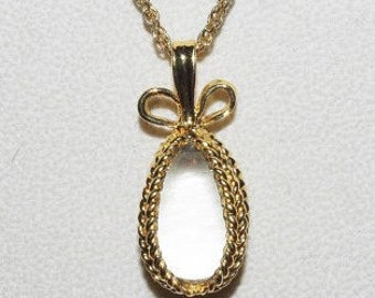 Joan Rivers Egg Necklace - Clear Stone Pendant - S1222