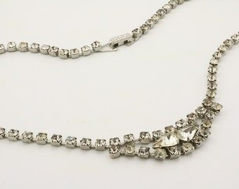 Vintage clear rhinestone necklace, great gatsby necklace, bridal necklace