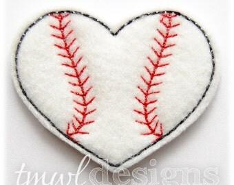 """Baseball Softball Heart Feltie Digital Design File - 1.75"""""""
