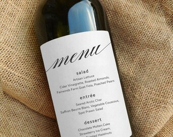 Wine Bottle Menu Labels \\ Wedding Menu Centerpiece