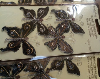 Black butterfly embellishment stickers