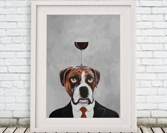 Boxer Print, Boxer Illustration Art Poster Acrylic Painting Kids Decor Drawing Gift, Dog with wineglass