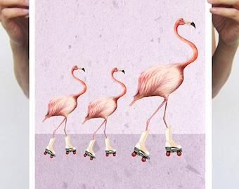 Flamingo Illustration Print Poster, Acrylic Painting,rollerskate,original painting of Coco de Paris, flamingo art, bird print