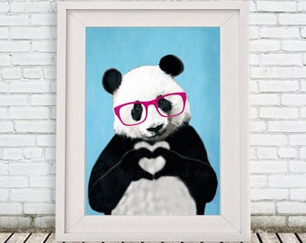 Panda finger heart print, original Panda creation, showing his love, panda art print, cute gift for Christmas, Coco de Paris Print