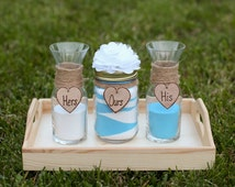 Personalized Rustic Wedding Unity Sand Ceremony Set Custom Flower & Heart French Country Shabby Chic Beach Backyard Garden Woodland Theme