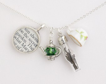 The Secret Garden Tea Necklace - Literary Jewelry - Teacup Necklace - Secret Garden Jewelry - Books and Tea Jewelry - Gifts for Readers