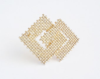 NAPIER Golden Woven Squares Brooch Pin